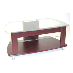"""4D Concepts - 4D Concepts TV Entertainment Stand in Cherry - A simple elegance of this TV stand is great for any room. The contours of the 3/8"""" thick glass top gives this unit a clean style. The stand is able to accommodate most 44"""" TV's. The profiled edge on the bottom shelf adds to the beauty of the unit. There is one adjustable glass shelf below the TV shelf this will let you store your electronic components. The back panels are manufactured with individual cord openings to hide all of your electrical cords. The decorative adjustable silver feet are used to level the unit. Constructed of composite board with durable PVC Laminate. Clean with a dry non abrasive cloth. Assembly is required."""