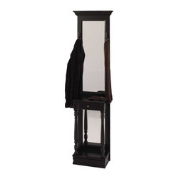 Jasper Cabinets - Traditional Hall Tree in Black Finish w Full - Add elegance and style to any hall or entry, no matter how small, with this sleek hall tree, featuring a mirrored panel back and several coat hooks, along with a storage drawer and shelf for keys, gloves and other small items. A bottom rack is ideal for umbrellas or shoe storage. Two hooks for hanging coats. One drawer and pedestal. Large full length mirror. One shelf. Made from solid wood and veneers. Assembly required. 21 in. W x 11 in. L x 79 in. H (66 lbs.)With its narrow, elegant style, the Edison Hall Tree will make a fantastic and functional piece for your entryway or hallway. The drawer and shelf provide handy storage space for keys and household odds and ends. Check out your look in the large top mirror and make sure your shoes match in the lower mirror. As you make good use of this piece in your home, you will admire its beautiful pedestal base, turned spindle legs, and traditional crown-molded top. Available in a wide selection of paint and stain finish options to complement your decor.
