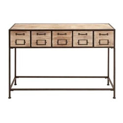 "Benzara - Console Table with Bright Light Wood Finish and Metal Leg - Console Table with Bright Light Wood Finish and Metal Leg. This wooden console table is a masterpiece of utmost utility with neat style. It comes with a following dimensions 47""W x 16""D x 33""H."