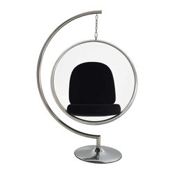 Modway - Ring Lounge Chair Set in Black - Gladden the everyday with the transparent Ring Chair. Your experience of space will never be the same as you let brilliant reality shine in all directions. Gently unite the prism of light and life as you sit elevated amongst a plane of renewal and rejoicing.