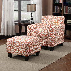 PORTFOLIO - Portfolio Park Avenue Orange Spice Medallion Arm Chair and Ottoman - Give any living space a design boost with this arm chair and ottoman. The orange pattern looks great against the neutral base color and will fit seamlessly into any room. The cushioning on the ottoman allows it to be used as a footrest or extra seating.