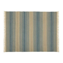 Dennis Stripe Recycled Yarn Indoor/Outdoor Rug Rug, 2 x 3', Blue - Our handwoven rug's charismatic stripes have a subtly sun-bleached look that's warm and casual. Our rug features a hand-knotted fringe and reversible design, and is crafted of recycled materials. Click here for {{link path='pages/popups/wool_rug_care_popup.html' class='popup' width='480' height='300'}}recommended care{{/link}}. Handwoven of our exclusive recycled polyester yarns. Yarn dyed for vibrant and lasting color. Easily rinses clean. Reversible. Use with our Rug Pad (sold separately) to help extend the life of your rug. Imported. Watch a video about the entire process of crafting our {{link path='/stylehouse/videos/videos/pbq_v20_rel.html?cm_sp=Video_PIP-_-PBQUALITY-_-HANDMADE_RUGS' class='popup' width='950' height='300'}}handmade rugs{{/link}}. Internet Only.