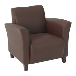 Office Star - OSP Furniture Lounge Seating SL2271EC6 Wine Eco Leather Breeze Club Chair - SL2271EC6 Wine Eco Leather Breeze Club Chair with Cherry Finish Legs belongs to Lounge Seating Collection by OSP Furniture Wine Eco Leather Breeze Club Chair with Cherry Finish Legs.