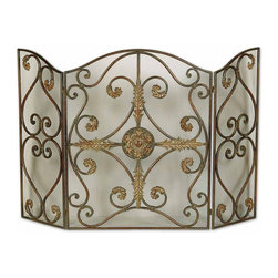 Uttermost - Jerrica Metal Fireplace Screen - This Lovely Fireplace Screen Is Made Of Hand Forged Metal With Wire Mesh Panels. The Mahogany Base-coat Has Light Brown Accents With Tan Glaze And Dark Brown Wash.