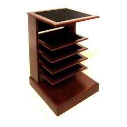 Proman - Proman Caesar Magazine Stand, Mahogany Finish - Caesar Magazine Stand, mahogany finish with black velvet insert on layers. Ideal for magazines and phone book for easy reach. Can also be used as end table or night stand. A table stand can be used, in any room at home. Elegant style with black velvet insert on shelf tops. Easy to assemble, removable shelves are easy to clean.