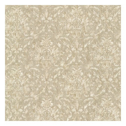 Majestic Olive Scrolling Damask Wallpaper Bolt - Aptly named majestic this fine wallpaper shimmers with a resplendent satin sheen. Ornate urns and scrolling leaves in a full damask pattern of subtle olive green and cream.