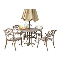 "Home Styles - Home Styles Biscayne 5 Pc 48"" Round Outdoor Dining Set in Bronze Rust - Home Styles - Patio Dining Sets - 5555328 - Home Styles Biscayne 5PC Set includes 48 inch Round Outdoor Dining Table and Four Arm Chairs. Set is constructed of cast aluminum with a Rust bronze finish. Features include hand antiqued powder coat finish sealed with a clear coat to protect finish attractively patterned table top has center opening to accommodate umbrellas and nylon glides on all legs.Features:"