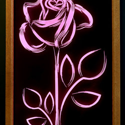 artist/handmade/custom - Framed Art, Illuminated Art, Rose - Clear acrylic panel that has been carved on the back, illuminated by multi-color LED lights built into the solid oak frame. Includes remote control so you can turn the illumination on and off as well as change the color. Requires 120 volt wall outlet.
