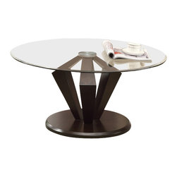Monarch Specialties - Monarch Specialties 7890 2-Piece Round Cocktail Table Set in Dark Espresso - Jazz up your home with this gorgeous contemporary beveled, tempered Glass top cocktail table. Thick geometrically shaped supports in a rich espresso finish, as well as a satin silver plated top create a wealth of warmth to your room.