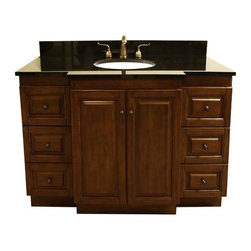 Legion Furniture - 48 in. Single Sink Vanity w Predrilled Faucet Hole (Dark Walnut) - Finish: Dark Walnut. Includes vanity and granite top. Faucet not included. Absolute black granite top. Two doors. Six drawers. Modular system. Soft close hinges. Pre-drilled 8 in. c.c. faucet hole. cUPC certified porcelain undermount sink. 4 in. backsplash. Measurement tolerance:(+/- 0.25 in.). Made from solid poplar, veneered plywood and MDF. Dark walnut finish. Minimal assembly required. Top: 49 in. W x 22 in. D x 0.75 in. H. Vanity: 48 in. W x 21.5 in. D x 34 in. H