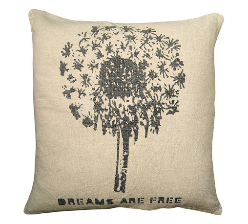 Kathy Kuo Home - Dreams Are Free' Blow Flower Ella Down Pillow - This dreamy pillow adds handmade style to your sofa, bed or bench — and reminds you to keep making wishes. The black dandelion and text are hand-printed on natural linen and filled with down so you can squeeze it and make your dreams come true.