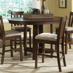 Liberty Furniture - Urban Mission 5 Pc Pub Set - Includes table and four barstools. One 18 in. butterfly leaf. Nylon chair glides. Generously padded upholstered seats. Comfortably seats upto 4. Warranty: One year. Made from select hardwoods and oak veneers. Dark mission oak finish. Made in Malaysia. Minimal assembly required. Barstool: 20 in. W x 18 in. D x 41 in. H (25 lbs.). Table minimum: 60 in. L x 36 in. W x 42 in. H. Table maximum: 78 in. L x 36 in. W x 42 in. H (106 lbs.)