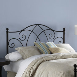 """FBG - Deland Metal Headboard - The Deland headboard is truly an eclectic style, marrying straight and rounded lines and profiles. This aesthetically pleasing bed has a finish which adds just enough shimmer to allow sunlight to bounce off, calling immediate attention to the artistically sculpted spindles. Round, sturdy posts topped by detailed finials, are joined together by gracefully arched rails. Features: -Striking Brown Sparkle finish.-Product Care: Light dusting with a soft cloth will keep the finish looking new for years to come.-Deland collection.-Gloss Finish: No.-Frame Material: Metal.-Upholstered: No.-Powder Coated Finish: Yes.-Hardware Material: Metal.-Non Toxic: Yes.-Scratch Resistant: No.-Adjustable Height: Yes.-Lighting Included: No.-Wall Mounted: No.-Reversible: No.-Hardware Finish: Brown Sparkle.-Finished Back: Yes.-Distressed: No.-Hidden Storage: No.-Freestanding: No.-Frame Required: Yes.-Frame Included: No.-Drill Holes for Frame: Yes.-Swatch Available: No.-Eco-Friendly: No.-Product Care: Wipe with a clean, damp cloth.-Recycled Content: No.Specifications: -EPP Compliant: No.-CPSIA or CPSC Compliant: Yes.-ASTM Certified: No.-ISTA 3A Certified: Yes.-General Conformity Certificate: Yes.-Green Guard Certified: No.Dimensions: -Overall Height - Top to Bottom (Size: Full): 53"""".-Overall Height - Top to Bottom (Size: Queen): 53"""".-Overall Height - Top to Bottom (Size: King): 53"""".-Overall Depth - Front to Back (Size: Full): 2.5"""".-Overall Depth - Front to Back (Size: Queen): 2.5"""".-Overall Depth - Front to Back (Size: King): 2.5"""".-Overall Product Weight (Size: Queen): 18 lbs.-Overall Product Weight (Size: King): 21 lbs.-Overall Product Weight (Size: Full): 17 lbs.-Top of Headboard to Bed Frame: 33"""".-Bottom of Headboard to Floor: 20"""".Assembly: -Assembly Required: No.-Additional Parts Required: No.Warranty: -10 Year warranty against manufacturer's defects."""