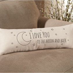 "Exposures - I Love you to the Moon Pillow - Overview The sweet sentiment of this lumbar pillow makes it a perfect romantic accent for a bed or boudoir chair. Your beau will know exactly who makes your heart sing when this comfy piece adorns the room.  Features Pillow cover is 95% ramie, 5% cotton Pillow insert is 100% polyester ""Love you to the moon"" message on the front    Specifications  26"" wide x 9"" high x 2 1/2"" deep"