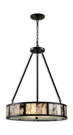 Uttermost - Uttermost Coslada 3 Light Marble Drum Pendant 21236 - Marble slabs accented with dark oil rubbed bronze metal and a frosted glass diffuser. Due to the nature of real marble each piece will vary in color tone.