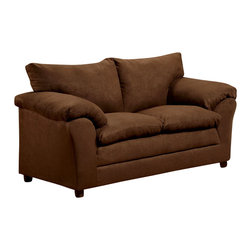 Chelsea Home Furniture - Chelsea Home Gail Loveseat in Flatsuede Chocolate - Gail loveseat in Flat suede Chocolate belongs to the Chelsea Home Furniture collection