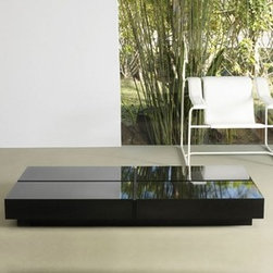 Modloft - Modloft | Dean Long Coffee Table - Made in Brazil by Modloft. The Dean Long Coffee Table features a base with lacquer top. A unique split detail runs the length of the table and enhances that surface space. Available in your choice of lacquer table top color and Dark Ebony wood base.