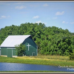 """""""Barn With a Cross"""" - This pretty barn sits just off of Route C, southwest of Jefferson City, Missouri. People choose many different ways to decorate their barns these days -- some choose flags or quilt blocks. These farm owners chose a symbol of their faith."""