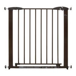Dreambaby - Brighton Pressure Mounted Gate - Take the pressure out of gate installation. This no drilling holes security system, with exception of stair tops requiring drilling mounting cups, keeps little ones and pets at bay while still keeping your style in tact. The easy close gate has a double locking system, and additional extensions to expand as your family does!