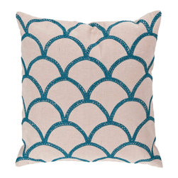 """Surya COM007-1818D 40% Cotton 18"""" x 18"""" Decorative Pillow - With a lovely pattern resembling scales, this pillow is on trend. Colors of peacock blue and peach cream accent this decorative pillow. This pillow contains a down fill and a zipper closure. Add this 18"""" x 18"""" pillow to your collection today. Filler: Down Feathers. Shape: Square"""