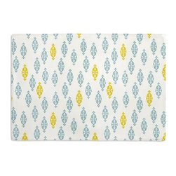 Aqua & Yellow Mini Emblem Custom Placemat Set - Is your table looking sad and lonely? Give it a boost with at set of Simple Placemats. Customizable in hundreds of fabrics, you're sure to find the perfect set for daily dining or that fancy shindig. We love it in this small indian boteh motif in bright aqua & mustard yellow on white cotton for a modern meets eclectic accent.