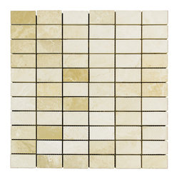 STONE TILE US - Stonetileus 10 pieces (10 Sq.ft) of Mosaic Botticino 1x2 Polished - STONE TILE US - Mosaic Tile - Botticino 1x2 Polished Specifications: Coverage: 1 Sq.ft size: 1x2 - 1 Sq.ft/Sheet Piece per Sheet : 66 pc(s) Tile size: 1x2 Sheet mount:Meshed back Stone tiles have natural variations therefore color may vary between tiles. This tile contains mixture of white - light brown - dark brown - and color movement expectation of low variation, The beauty of this natural stone Mosaic comes with the convenience of high quality and easy installation advantage. This tile has Polished surface, and this makes them ideal for walls, kitchen, bathroom, outdoor, Sheets are curved on all four sides, allowing them to fit together to produce a seamless surface area. Recommended use: Indoor - Outdoor - High traffic - Low traffic - Recommended areas: Botticino 1x2 Polished tile ideal for walls, kitchen, bathroom, Free shipping.. Set of 10 pieces, Covers 10 sq.ft.