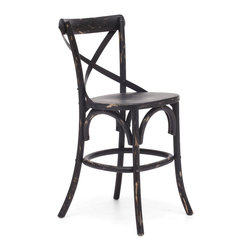 ZUO ERA - Union Square Counter Chair Antique Black - Transform your center island into an espresso bar with these charming cafe chairs. Crafted from solid wood and antique metal, the counter height chairs feature a stylish x-back design and are available in three rustic finishes. Care for a latte or cappuccino?
