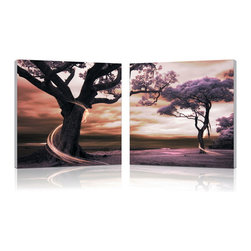 """Wholesale Interiors - Lilac Enchantment Mounted Photography Print Diptych - The colors of the sunset alter the mood of the forest, seemingly transforming it into a different land: a land of enchantment, where swirls of barely-visible spritely spirits twirl playfully around the trunks of the trees. This dreamy image is made in China and split into two MDF frames, each mounted with half of the photo on a piece of waterproof vinyl canvas. A diptych with each image intended for display directly adjacent to the other, the Lilac Enchantment Modern Wall Art Set comes fully assembled and ready to hang, though does not include hardware for mounting to a wall. To clean, simply wipe gently with a dry cloth. Product dimension: 19.68""""W x 1""""D x 19.68""""H."""