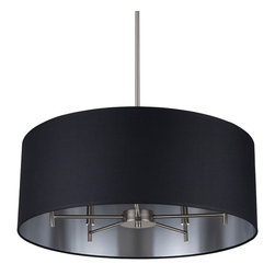 Walker 5-Arm Chandelier - Brushed Nickel with Black and Silver Metallic -