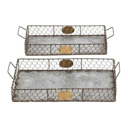 Benzara - Hand Forged Metal Galvanized Tray Set of Two - Hand Forged Metal Galvanized Tray Set of two. Ideal for home or office use, this Set of two galvanized metal trays will help you organize your stuff, sort out folders and arrange your mail. The dimensions of the metal galvanized tray Set of two with dimensions: 20 x 10 x 4 and 19 x 8 x 4. Some assembly may be required.