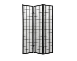 Oriental Unlimited - 6 ft. Tall Window Pane Shoji Screen (4 Panels / Walnut) - Finish: 4 Panels / WalnutWhether you want to create visual interest or separate areas within a space or just need a private nook, this multi panel Shoji screen can accomplish it all. Striking window pane style grill design on the front of the screen draws attention while the reinforced rice paper shade provides complete privacy to both sides. Add an Asian flair to any room with this classic screen. Screens may vary slightly in color. Our most affordable room divider. Shade is strong. Fiber reinforced, pressed pulp rice paper allows diffused light. Provides complete privacy. Crafted from durable and lightweight Scandinavian Spruce. Panels are constructed using Asian style mortise and tenon joinery. Lacquered brass. 2-Way hinges mean you can bend the panels in either direction. Black finish. Assembly required. Each panel: 17.5 in. W x .75 in. D x 69.5 in. H. 3 Panels: 53 in. wide (flat). Approximately 45 in. wide (folded to stand upright)