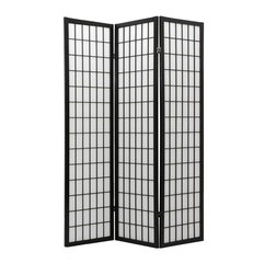 Oriental Unlimited - 6 ft. Tall Window Pane Shoji Screen (5 Panels / Honey) - Finish: 5 Panels / HoneyWhether you want to create visual interest or separate areas within a space or just need a private nook, this multi panel Shoji screen can accomplish it all. Striking window pane style grill design on the front of the screen draws attention while the reinforced rice paper shade provides complete privacy to both sides. Add an Asian flair to any room with this classic screen. Screens may vary slightly in color. Our most affordable room divider. Shade is strong. Fiber reinforced, pressed pulp rice paper allows diffused light. Provides complete privacy. Crafted from durable and lightweight Scandinavian Spruce. Panels are constructed using Asian style mortise and tenon joinery. Lacquered brass. 2-Way hinges mean you can bend the panels in either direction. Black finish. Assembly required. Each panel: 17.5 in. W x .75 in. D x 69.5 in. H. 3 Panels: 53 in. wide (flat). Approximately 45 in. wide (folded to stand upright)