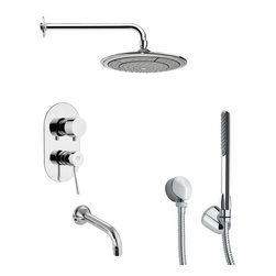 Remer - Round Polished Chrome Shower System - Single function tub and shower faucet.