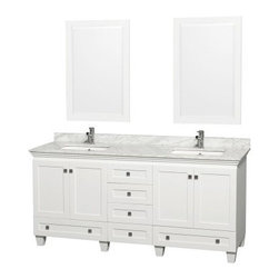 Wyndham Collection Acclaim 72-in. Double Bathroom Vanity Set - White - The Wyndham Collection Acclaim 72-in. Double Bathroom Vanity Set - White blends traditional and modern design and tops it with ample storage. This bathroom vanity set is made of solid oak in a clean white finish and comes with two integral sinks in your choice of countertop material as well as a matching framed mirror to go over each sink. Storage lives in the two cupboard sets on either side of the vanity, each with shelving behind, a wide drawer beneath each cupboard set, and four central drawers perfect for organizing your family. Counters are pre-drilled for single-hole faucets and faucets are not included.About the Wyndham CollectionWyndham and the Wyndham collection are all about refinement, detailing, uniqueness, quality, and longevity. They are dedicated to the quality of their products and own the factory where each piece is constructed. This allows Wyndham to offer products that reflect the rigorous quality standards required for every piece that is offered to their customers. The Wyndham collection showcases elegant, modern design styles that highlight functionality and style in every detail.