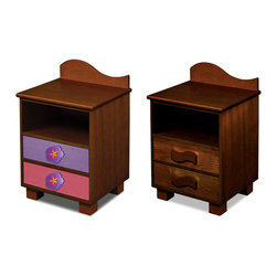 "Room Magic - Magic Garden Nightstand, Chocolate - This attractive quality nightstand made of solid hard wood has a wave shaped back piece, and storage shelf for stowing all your childrens favorite storybooks and toys. Two drawers have reversible drawer fronts that have a colorful stain finish on one side and and Chocolate finish on the other, allowing you to easily change the look when your child outgrows the colorful stains. Includes 2 natural waves knobs and 2 pretty purple flower knobs.  18""L x 16""D x 29""H"
