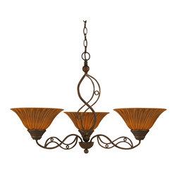 "Toltec - Toltec 233-BRZ-519 Bronze Finish 3-Light Uplight Chandelier with 10"" Tiger Glass - Toltec 233-BRZ-519 Bronze Finish 3-Light Uplight Chandelier with 10"" Tiger Glass"