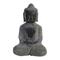 Golden Lotus - Chinese Hand Carved Sitting Sakyamuni Stone Buddha Statue - This sitting sakyamuni Buddha statue is made of solid stone and hand carved in a round.