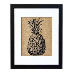 Fiber and Water - Pineapple Art - This vintage-looking pineapple print would look charming in the kitchen or in any room that favors botanical or tropical themed decor. Hand-printed onto burlap for a natural touch and then neatly framed in a contemporary black frame and white matte, it will fit in with any color scheme you've got going and look equally comfortable in rustic or modern settings.