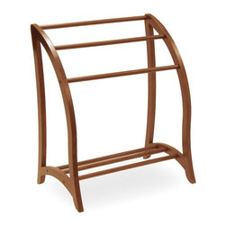 Winsome Wood - Quilt Rack in Walnut - Bring the beauty and practical functions of a blanket rack into a contemporary space.  Wood frame is simple and curved for angled display.  You'll love the sheen of a warm walnut finish that can showcase heirloom treasures as well as everyday throws. * Made of Wood. Keep spare linens within reach. Rack holds 3 quilts or bath towels. Easily coordinates with existing d̩cor. Walnut finish. Some assembly required. 20 in. W x 30 in. L x 36 in. H