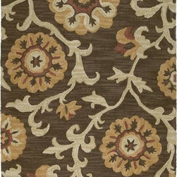 """Kaleen - Kaleen Carriage Cornish 5' x 7'9"""" Brown Rug - Carriage is a warm and casual rug as comfort and as much a part of the family as that favorite sweater. As all Kaleen products Carriage is only made of the finest materials. Hand Tufted Loop construction made in India of 100% Premium Virgin Wool."""