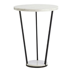 Arteriors - Petra Side Table - Put your style on a pedestal. This modern side table looks striking, its black iron legs supporting natural white marble discs in two sizes. Its open base and smaller footprint make it a great choice for smaller spaces or between two chairs.