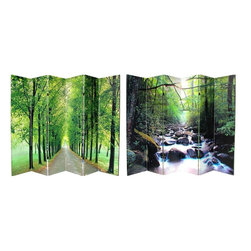 Oriental Furniture - 6 ft. Tall Path of Life Room Divider 6 Panel - These lush landscape images convey a sense of tranquility and peace. Amazing nature photography provides a beautiful decorative accent for any room: living room, bedroom, dining or kitchen. Each side has a different image as shown.