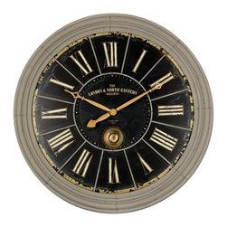 "Uttermost - London Rail Clock 38"" - Rust Gray finish with Black undertones"