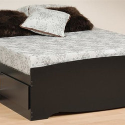 Prepac - Storage Platform Bed in Black Finish (Full) - Choose Size: FullIncludes six drawers. Drawer to stow away blankets, linens and anything else. Sides glide on metal runners with built-in safety stops. Finger pulls at the bottom of each drawer front for easy opening. Weight capacity: 500 lbs.. Warranty: Five years. Made from CARB-compliant, laminated composite woods. Made in North America. Full: 76.5 in. L x 57 in. W x 18.75 in. H. Queen: 81.5 in. L x 63 in. W x 18.75 in. HExpand the storage potential of your bedroom with the Mates platform storage bed with six drawers. You wont need a box spring, either, thanks to the slat support system that requires only a mattress. Wood slats positioned length-wise distribute body weight evenly to ensure a good nights sleep.
