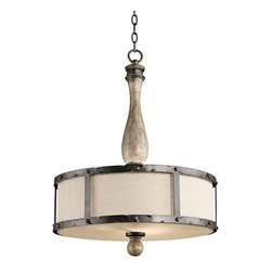 """Kichler - Country - Cottage Kichler Evan 20"""" Wide Off White Linen Shade Pendant - Charming and rustic inspired this pendant light features distressed wood in an elegant antique gray finish. Hammered adds a unique touch. From the Evan Collection by Kichler Lighting. Distressed antique gray finish. Satin etched glass diffuser. Off white linen shade. Hammered metal. Three maximum 100 watt or equivalent bulbs (not included). Includes 72"""" of chain. 25 3/4"""" high. 20"""" wide.  Distressed antique gray finish.  Satin etched glass diffuser.  Off white linen shade.  Hammered metal.  A Kichler Pendant design.  Three maximum 100 watt or equivalent bulbs (not included).  Includes 72"""" of chain.  25 3/4"""" high.  20"""" wide."""