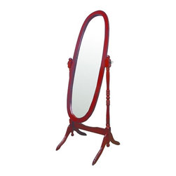 ORE International - Cherry Finish Cheval Floor Mirror - Cherry finish reproduction of the Cheval mirrors found in homes before the turn of the century. Adjustable full length free standing oval Cheval mirror stands. Tilts to any angle. Easy assembly. Dimensions: 23 in. L x 20 in. W x 59.25 in. H ( 20 lbs. )