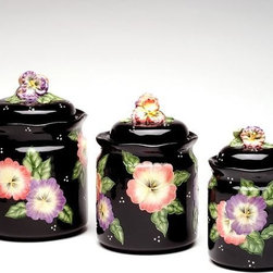 ATD - Set of 3 Black Porcelain Lidded Canisters with Colorful Pansy Design - This gorgeous Set of 3 Black Porcelain Lidded Canisters with Colorful Pansy Design has the finest details and highest quality you will find anywhere! Set of 3 Black Porcelain Lidded Canisters with Colorful Pansy Design is truly remarkable.