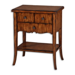 Uttermost - Uttermost 24140  Carmel Wood End Table - Casual styling in warm, old barn finish with three dovetail drawers, pewter finished knobs, and distressed primavera veneer.