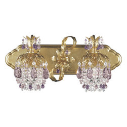Schonbek - Rondelle French Gold Two-Light Amethyst Vintage Crystal Bathroom Light, 21W x 9. - -Vintage Crystal: Recalling the fashions of a bygone era, these fanciful beads, dainty droplets, and antique-style faceted ovals are woven  into chains. Also available in an array of beautiful colors.  - Richly jeweled with colorful crystal and swirling with leafy shapes, Rondelle has an uplifting effect on the spirits. Eccentric and nostalgic, Rondelle radiates the spirit of antiquity.  -Amethyst Vintage Crystal  - Light Source: Halogen  - Bulbs Included  - Uses standard line volt dimmer  - Some assembly required  - For shipping outside of USA, please contact Bellacor customer service  - Cleaning and Care Instructions: Every Schonbek product is of heirloom quality and will last for generations. To ensure it retains its brilliance and splendor for years to come, proper care and regular cleaning are necessary. It is recommended that Schonbek products, and particularly their crystal trim, be lightly dusted with a feather or lambswool duster, or soft brush every two months, or whenever it appears dull or dusty. Consult the fixtures trim diagram for detailed cleaning instructions list of approved cleaning solutions. Schonbeck fixtures should never be subjected to any chemical cleaning agents. - See packaging insert for warranty information. Schonbek  - 1255-26AM