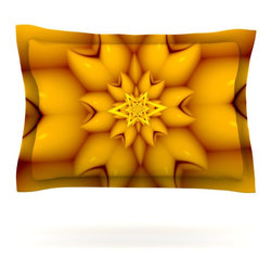 """Kess InHouse - Michael Sussna """"Citrus Star"""" Orange Yellow Pillow Sham (Cotton, 30"""" x 20"""") - Pairing your already chic duvet cover with playful pillow shams is the perfect way to tie your bedroom together. There are endless possibilities to feed your artistic palette with these imaginative pillow shams. It will looks so elegant you won't want ruin the masterpiece you have created when you go to bed. Not only are these pillow shams nice to look at they are also made from a high quality cotton blend. They are so soft that they will elevate your sleep up to level that is beyond Cloud 9. We always print our goods with the highest quality printing process in order to maintain the integrity of the art that you are adeptly displaying. This means that you won't have to worry about your art fading or your sham loosing it's freshness."""